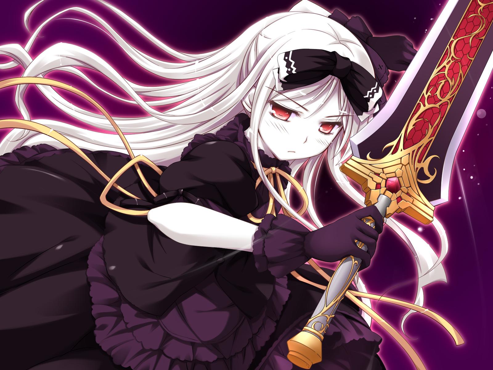 Princesses Konachan-com-73690-dress-game_cg-gloves-gothic-kocha-long_hair-red_eyes-ribbons-shukufuku_no_campanella-sword-weapon-white_hair